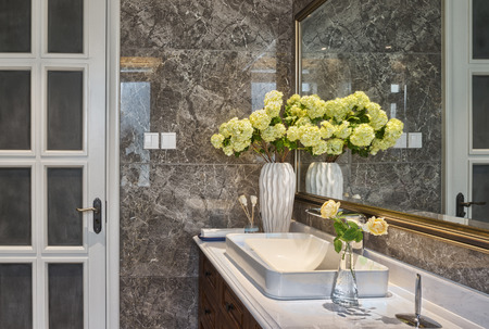 marble wall: washing sink in toilet
