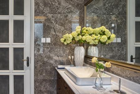 public restroom: washing sink in toilet