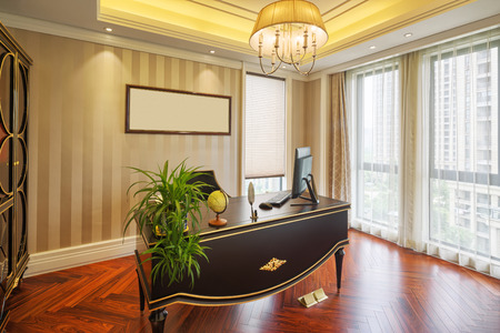 office cabinet: luxury study interior and decoration Editorial