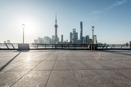 empty street: panoramic skyline of shanghai with empty street floor Stock Photo