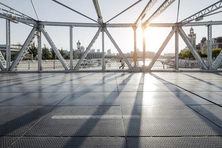 modern bridge and empty road floor 写真素材