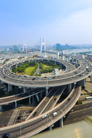 road intersection: skyline and road intersection in shanghai Stock Photo