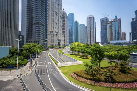 urban road: Modern buildings and urban road in city