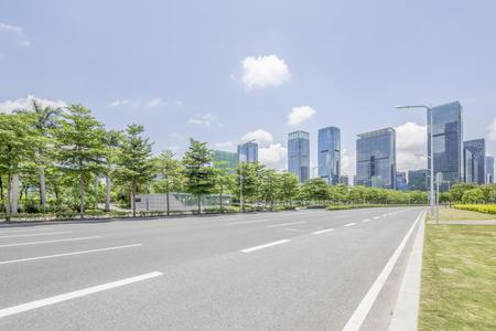 empty Asphalt road and modern city shenzhen in china Standard-Bild