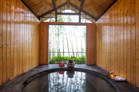 pool rooms: interior of hotspring for spas Editorial