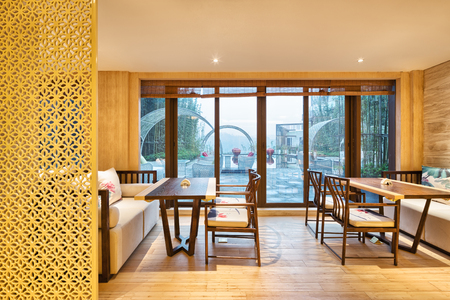 dining room: furniture and decoration of modern dining room in hotel