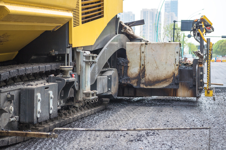 vibration machine: detail of road roller on road Stock Photo