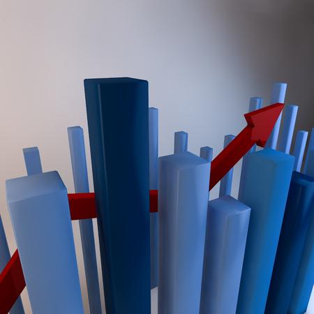 bar charts: flecha roja arriba a través de gráficos de barras 3d