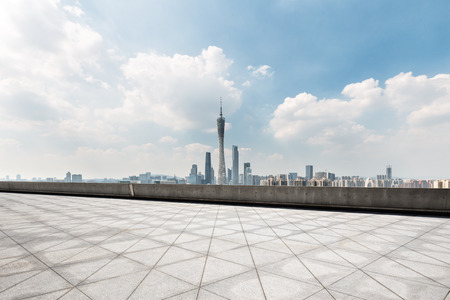 landmark guangzhou tower from empty floor