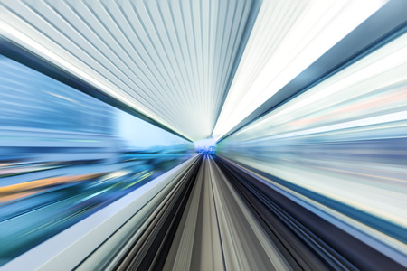rail track and cityscape of tokyo on view from speed train Stock Photo