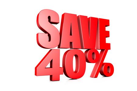 40: 3d illustration save 40%