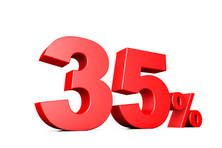 35: 3d illustration business number 35 percent Stock Photo