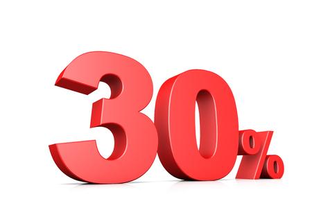 30: 3d illustration business number 30 percent
