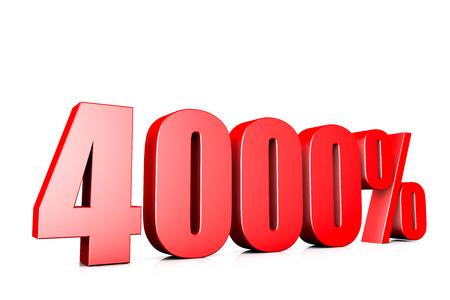 3d illustration sign of 4000%