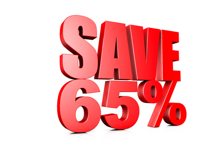 65: 3d illustration save 65% Stock Photo