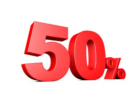 50 number: 3d illustration business number 50 percent