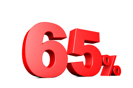 65: 3d illustration business number 65 percent