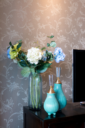 furniture home: beautiful vases near TV in modern living room Stock Photo