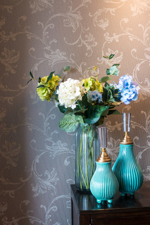 room decoration: beautiful vases near TV in modern living room Stock Photo