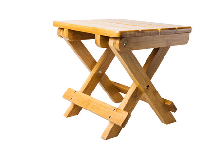 collapsible: folding wood bench Stock Photo