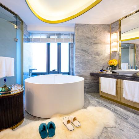 luxury bathroom: modern bathroom with luxury tub