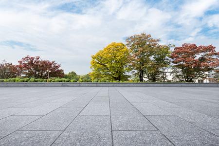 pusta ceglana podłoga blisko parka w obłocznym niebie