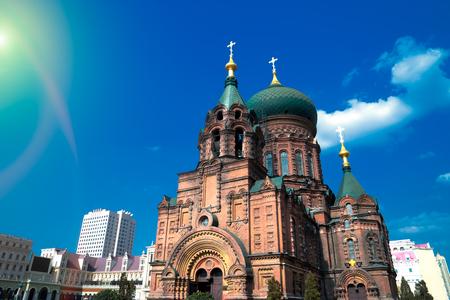 famous harbin sophia cathedral in blue sunny sky