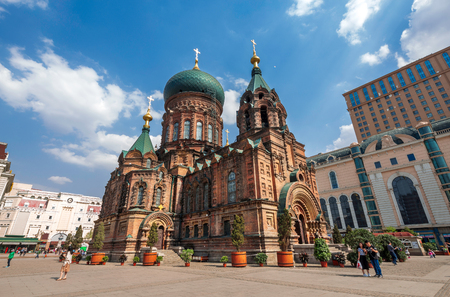 famous harbin sophia cathedral in blue sky from square Editorial