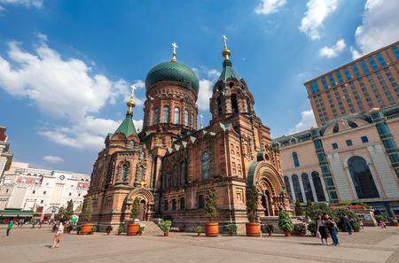 beroemde harbin sophia kathedraal in de blauwe hemel van vierkant