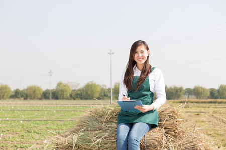 agronomist: young chinese woman agronomist working in golden field