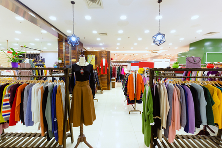 show window: interior of fashion store in shopping mall