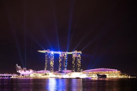 singapore,June 30,2014:night scene of light show of marina bay sands