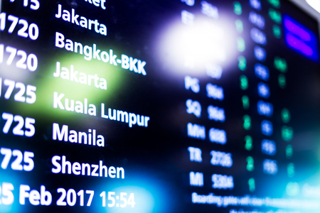 screen with flight information in airport