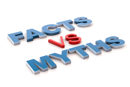 fact: 3d illustration facts vs myths Stock Photo