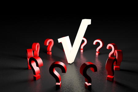 3d illustration white tick mark with red question marks on black Stock Photo