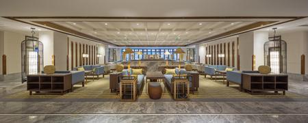 현대 호텔 로비의 인테리어 에디토리얼