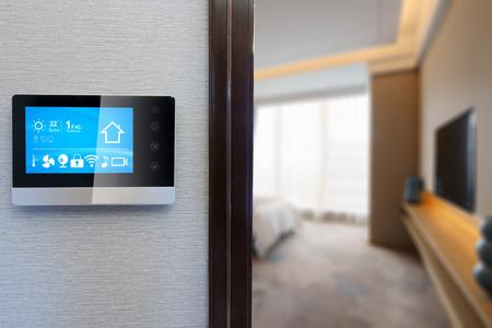 smart screen on wall in modern luxury bedroom