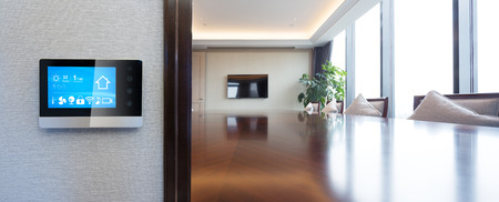 smart screen on wall with modern meeting room Editorial