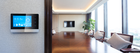 smart screen on wall with modern meeting room