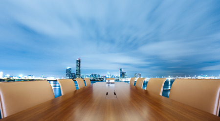 painted conference table with cityscape of nanjing at twilight 版權商用圖片