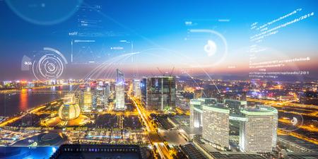 abstracte communicatietechnologie boven hangzhou qiang jiang nieuwe stad in de toekomst