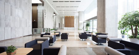 interior of modern entrance hall in modern office building Imagens