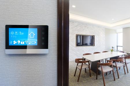 smart screen on wall in modern office