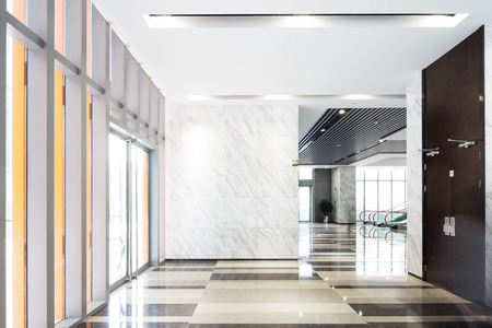 interior of spacious corridor in modern office building Stock Photo