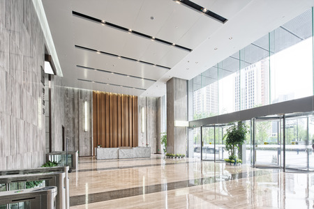 interior of modern entrance hall in modern office building
