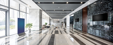 interior of modern entrance hall in modern office building Фото со стока
