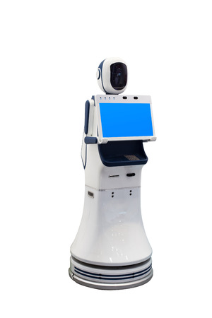 induce: futuristic robot with automatic scan Stock Photo