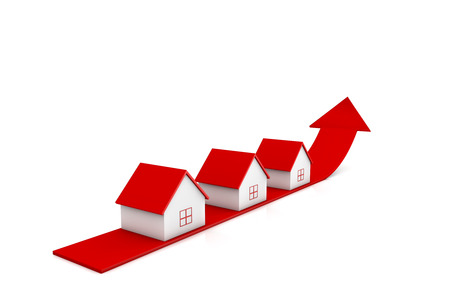 3d illustration house and red arrow growing up on white backgrounds Stock Photo