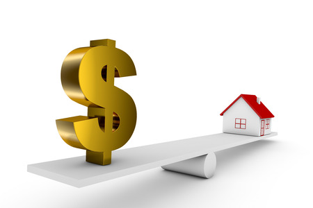 3d illustration balance of house and currency sign dollar Stock Photo