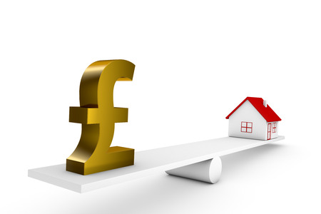3d illustration balance of house and currency sign pound Stock Photo